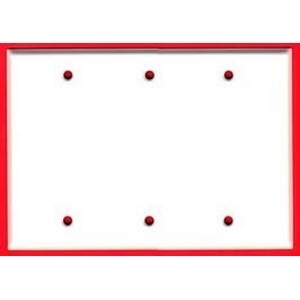 Mulberry Metal 86153 Blank Wallplate, 3-Gang, Standard, Painted White, Box Mount