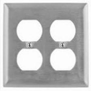 Mulberry Metal 97102 Duplex Receptacle Wallplate, 2-Gang, Stainless Steel