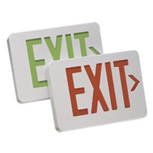 Mule MXAGU Exit Sign, LED, White, Green Letters, 120/277V