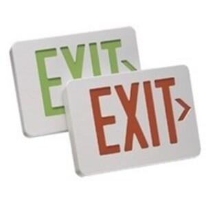 Mule MXBRU Exit Sign, LED, White, Red Letters, 120/277V