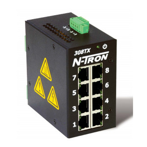 N-TRON 308TX Ethernet Switch, 8 Port, Unmanaged, 10-30VDC, 10/100BaseTX