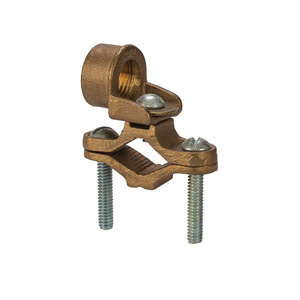 "NSI Tork EG-5 Ground Clamp With Adaptor, Pipe Size: 1/2 - 1"", 10 - 2/0 AWG, Bronze"