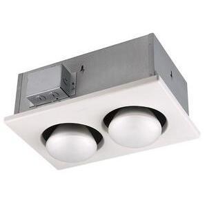 Nutone 9422P Heat Lamp, (2) 250W Infrared Bulbs, White
