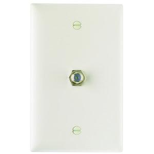 ON-Q TPCATV-LA Wall Plate & Connector, F Coaxial, 1-Gang, Light Almond