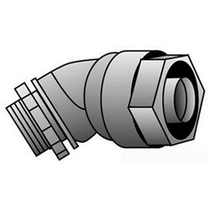 "OZ Gedney 4Q-450 Liquidtight Connector, 45°, 1/2"", Non-Insulated, Malleable Iron"