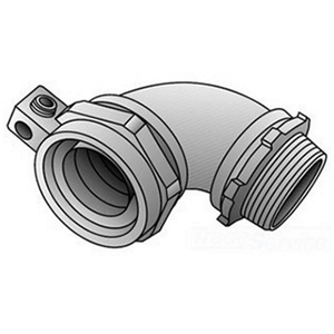 """OZ Gedney 4Q-950L Liquidtight Grounding Connector, 90°, Size: 1/2"""", Malleable Iron"""