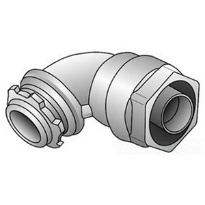 """OZ Gedney 4Q-975T Liquidtight Connector, 90°, 3/4"""", Insulated, Malleable Iron"""
