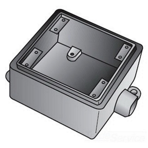 "OZ Gedney FS275 FS Device Box, 2-Gang, Feed-Thru, Type FS, 3/4"", Malleable Iron"