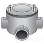 "OZ Gedney GUAT-50 Conduit Outlet Box, Type T, 1/2"" Hubs, Malleable Iron"