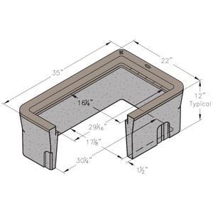 """Oldcastle Precast 1000155 Underground Enclosure, 22"""" x 35"""" x 12"""", Reinforced Concrete"""
