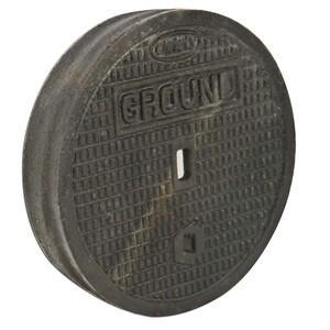 "Oldcastle Precast 3000480 Lid, Diameter: 8-7/8"", Cast Iron, Legend: GROUND"