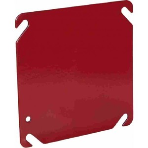 "Orbit Industries FA-4BC 4"" Square Blank Fire Alarm Cover, Red, Steel"