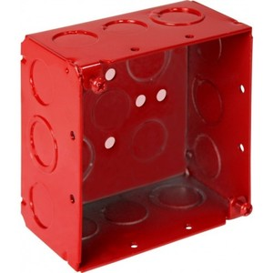 "Orbit Industries FA-4SDB-MKO 4"" Square Alarm Box, Red, Depth: 2-1/8"", Blank With MKO, Steel"