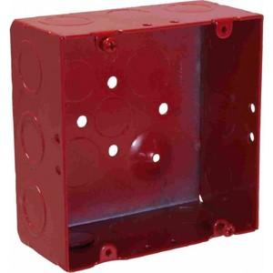 "Orbit Industries FA-5SDB-MKO 4-11/16"" Square Alarm Box, Red, Depth: 2-1/8"", Blank With MKO, Steel"