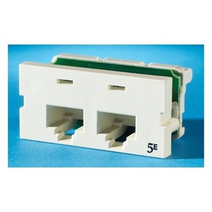 Ortronics S225E00 Multimedia Outlet, Snap-In, 2 Port, Series II, Clarity 5e, Fog White