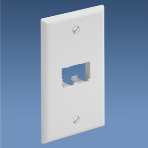 Panduit CFP2WH Wallplate, Classic, 1-Gang, 2-Port, Box Mount, Mini-Com, White