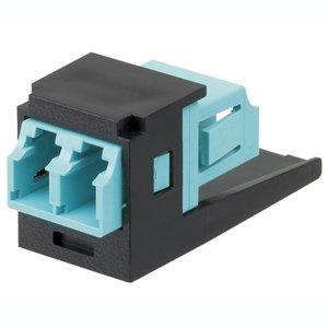 Panduit CMDSAQLCZBL Fiber Optic Adapter Module, Duplex Multimode, Aqua/Black