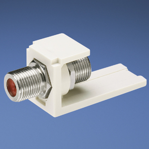 Panduit CMFWH Mini-Com®, F-Type Adapter, White Nickle Plated