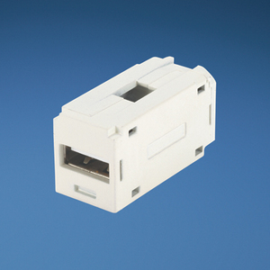 Panduit CMUSBAAIW Mini-Com®, Snap-In Connector, QuickPort, USB, Feed-Through, Off White
