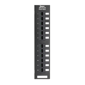 Panduit DP12688TGY Punchdown Patch Panel, Cat 6, Flat, 12 P