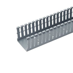 "Panduit F1.5X2LG6 Wiring Duct,  Narrow Slot, 1-1/2"" x 2"" x 6', PVC, Gray"