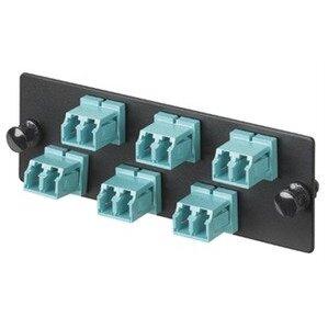 Panduit FAP12WAQDLCZ LC Fiber Adapter Panel, 10Gig, 12 Duplex Multimode Adapters, Aqua