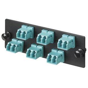 Panduit FAP6WAQDLC LC 10Gig™ OM3/OM4 FAP loaded with six LC 10Gig™ Duplex Multimode Fiber Optic Adapters (Aqua) with phosphor bronze split sleeves.