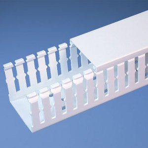 "Panduit G1.5X2WH6 Wiring Duct, Wide Slot, 1-1/2"" x 2"" x 6', PVC, White"