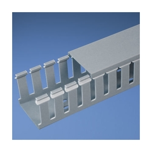 "Panduit G2.5X3LG6 Wiring Duct, Wide Slot, 2-1/2"" x 3"" x 6', PVC, Gray"
