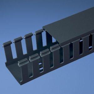 """Panduit G4X4BL6-A Wiring Duct, Wide Slot, 4"""" x 4"""" x 6', PVC, Black, Adhesive"""