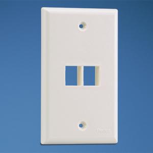 Panduit NK2FNIW Wallplate, 2-Port, 1-Gang, NetKey, Rear Load, Flush, Off White