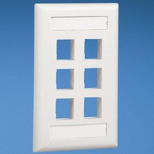 Panduit NK6FEIY Wallplate, Vertical, 1-Gang, 6-Port, Box Mount, NetKey, Ivory