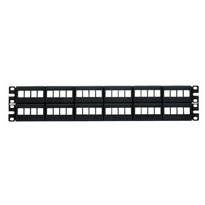 Panduit NKFP48Y Patch Panel, Keystone, Modular Molded, 48 Port, 2RMU, Black