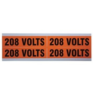 Panduit PCV-208BY Voltage Marker, Vinyl, 208V