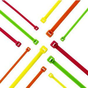 "Panduit PLT2S-C55 Locking Cable Tie, 7.4"" Length, Nylon, Fluorescent Green"