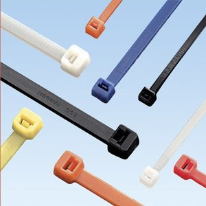 "Panduit PLT3S-C2 Cable Tie, Standard, 11.5"" Long, Nylon, Red, 100/Pack"