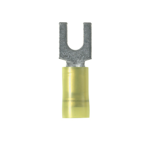 Panduit PNF10-10F-L Fork Terminal, Nylon Insulated, 12 - 10 AWG, Stud: #10, Yellow
