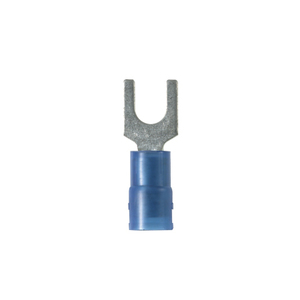 Panduit PNF14-10F-C Fork Terminal, Nylon Insulated, 16 - 14 AWG, Stud: #10, Blue, Copper