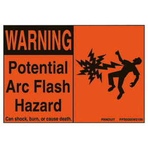 Panduit PPS0305W2100 Adhesive Sign, WARNING POTENTIAL ARC FLASH HAZARD