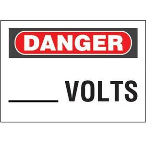 Panduit PPS0710D28 Adhesive Sign, Polyester,'Danger _ Volts