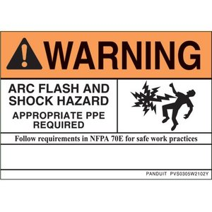 Panduit PVS0305W2102Y Vinyl Adhesive Sign, Warning Header, Standard Pack of 5