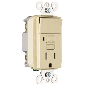 Pass & Seymour 1595-SWTTRICC4 Switch/GFCI Receptacle Combo, 15A, 125V, Ivory
