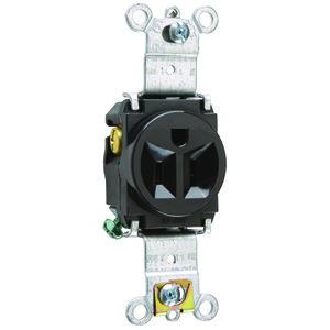 Pass & Seymour 5261-BK Recp Sgl 15a 125v S+b Wire Bk