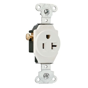 Pass & Seymour 5351-LA Single Receptacle, 20 Amp, 125 Volt, Light Almond