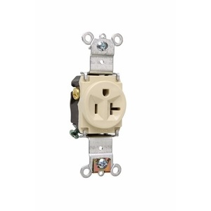 Pass & Seymour 5361-I Single Receptacle, 20A, 125V, Ivory