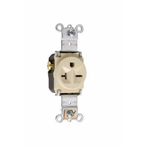 Pass & Seymour 5871-I Single Receptacle, 20 Amp, 250 Volt, Ivory