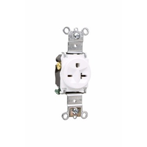 Pass & Seymour 5871-W Single Receptacle, 20 Amp, 250 Volt, White