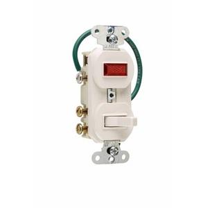 Pass & Seymour 695-WG 3-Way Switch/Pilot Light Combo, 15A, White