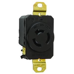 Pass & Seymour 7310 Locking Receptacle, Non-NEMA, 20A,  125/250V, 3P3W, Black