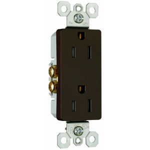 Pass & Seymour 885-TR Tamper Resistant Decora Receptacle, 15A, 125V, Brown